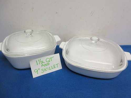 """Set of 2 corningware white cookmate baking dishes 1.5qt. And 9"""" skillet, both w/"""