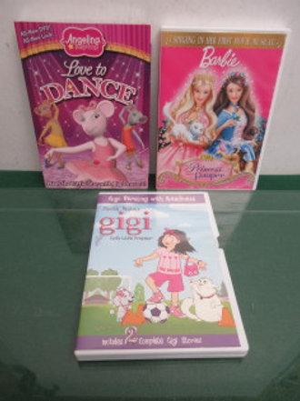 Set of 3 dvd's, angelina loves to dance, barbie, & gigi god's little princess