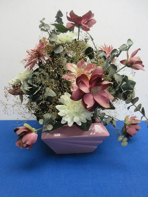 Mauve ceramic square vase with artificial arrangement