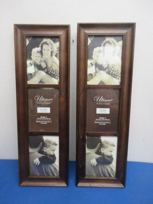 "Pair of wooden triple photo frames, each 7.5x24"""