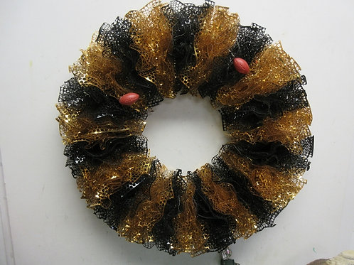 "Large black and gold honeycomb ribbon wreath, 20"" diameter"