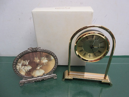 Pair of things remembered items, ornate round frame, glass alarm clock