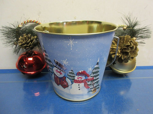 "Snowman pail 6""diax6""tall with 2 door know Xmas bells"