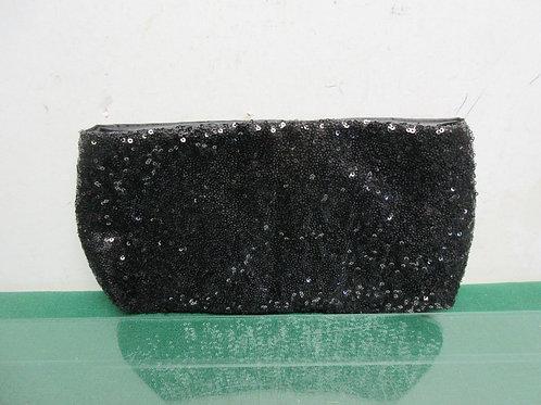 Black sequin evening clutch