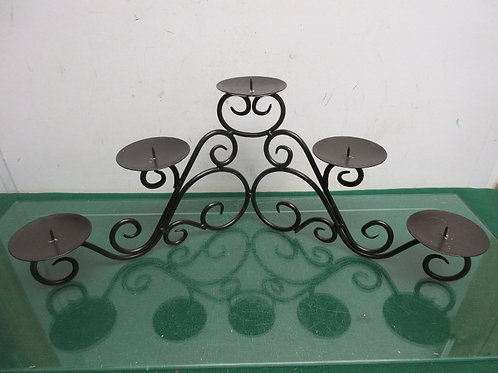 Black wrought iron corner scroll design pillar candle stand, holds 5 candles