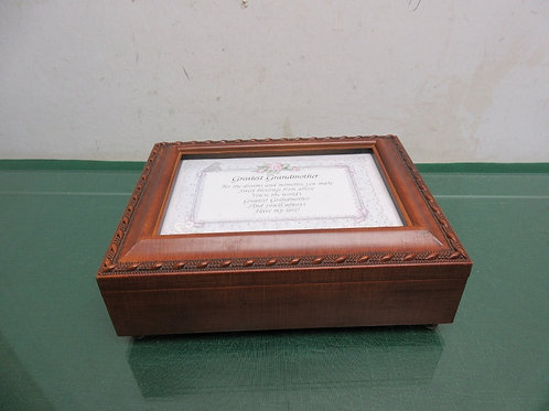Wooden musical jewelry box with photo slot in lid - plays wind beneath my wings