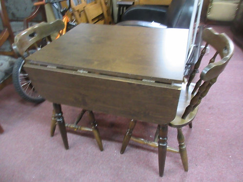 Dark tone dinette set drop leaf table and 2 chairs, wear