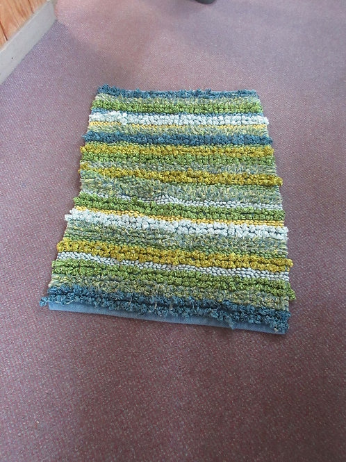 "Rag  tied type throw rug , stripe blue, yellow & green, 21x35"""