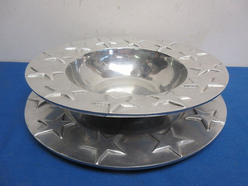 Pewter 2 pc bowl/platter set with star decorations, Made in Mexico