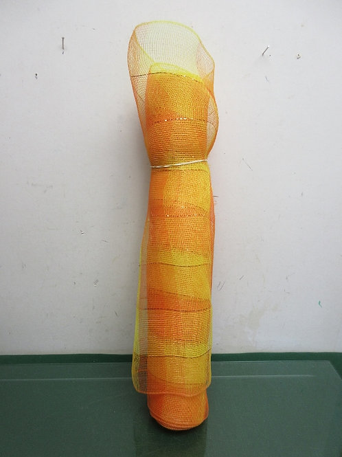 Roll of orange & yellow mesh for crafts/wreaths, over 6 yards