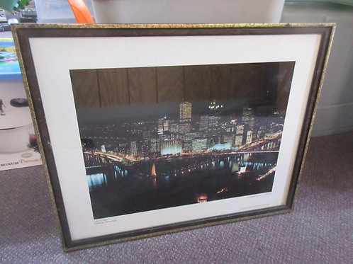 """Framed night time photo of Pittsburgh """"Light up night, 1983"""" 17x21"""""""