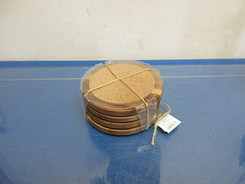 Set of 4 wooden and cork coasters - NEW