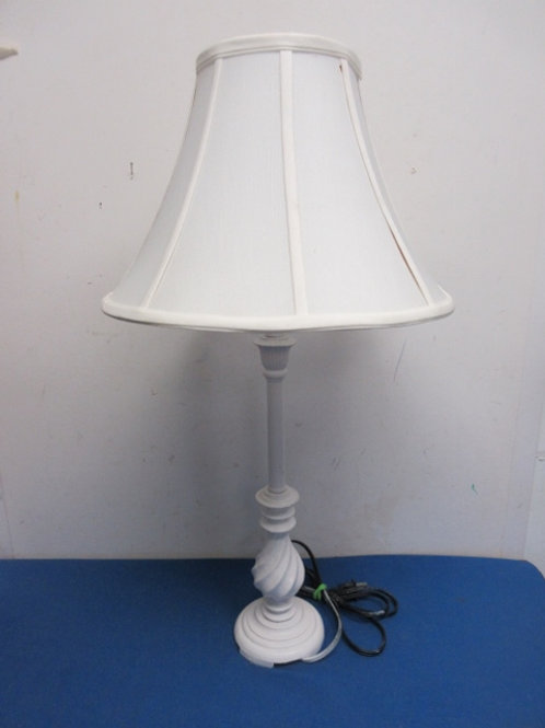 """White stick style table top lamp with white shade - 26"""""""