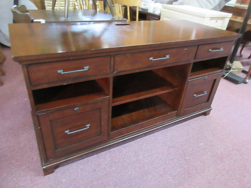 Hooker Furniture cherry desk/credenza with 2 file drawers, 3 drawers and shelves