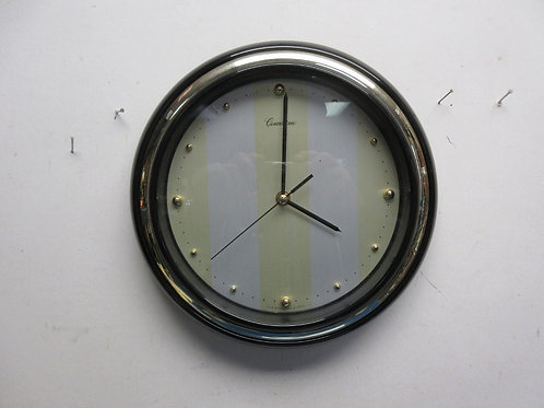 """Round black and gold battery clock, 11"""" dia"""