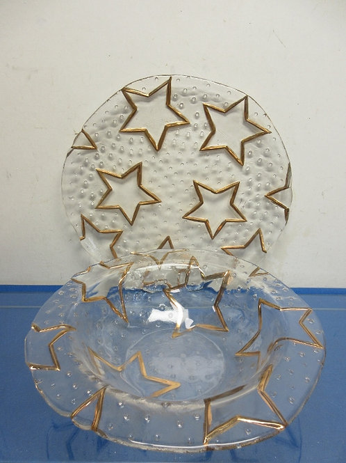 Pair of heavy glass servers with gold star design-large platter and bowl