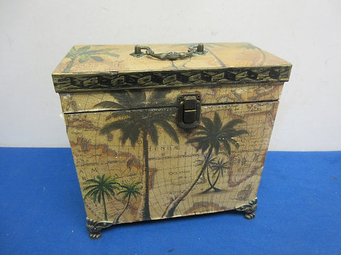Vintage wooden storage box withmap and palm tree design