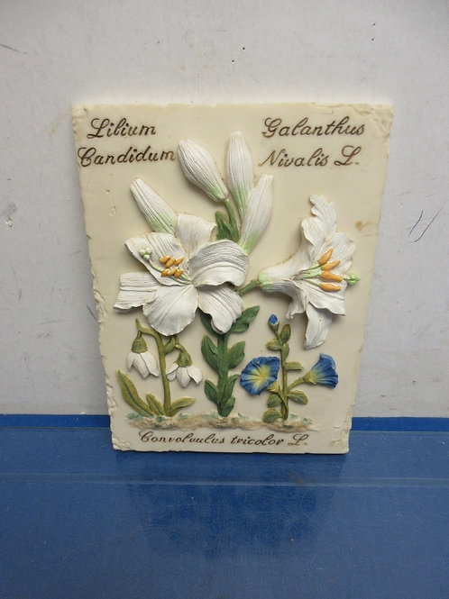 Small white floral plaque 6x9""