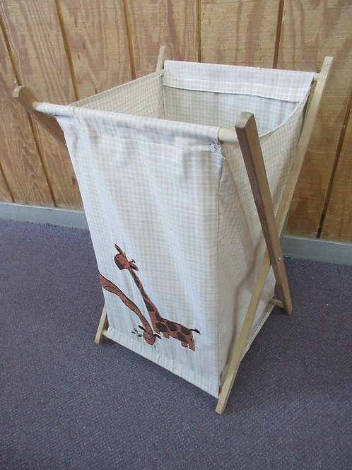 Folding wooden frame hamper with cloth bag, giraffe design