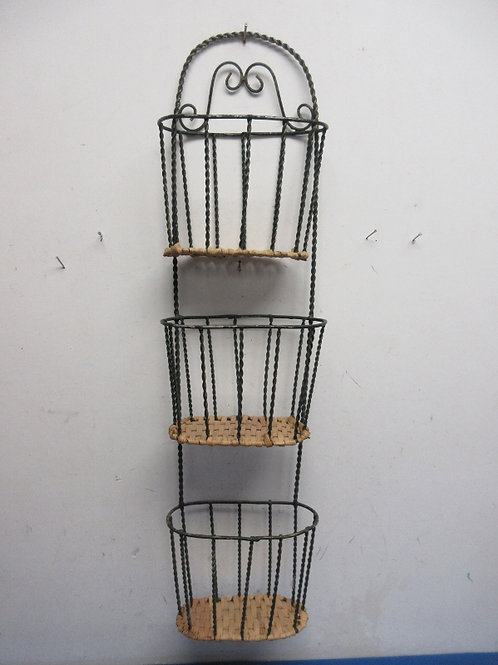 """Metal and wicker 3 section wall hanging, mail basket 6x28"""""""