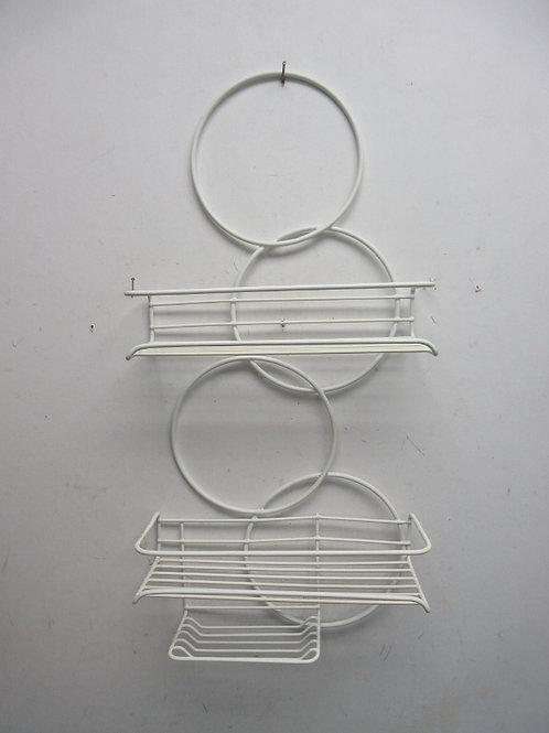 White vinyl coated shower shelf-hangs from shower head