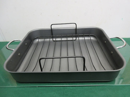 T-fal rectangular anodized non stick roasting pan with rack 13x16""