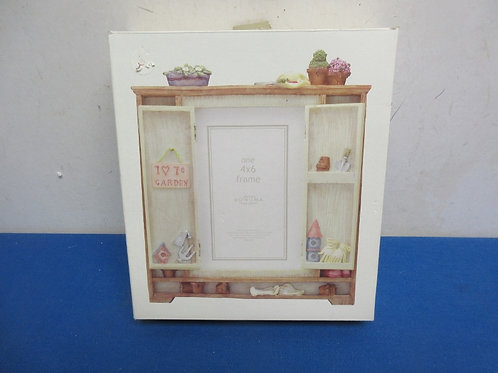 Walnut desk organizer with 4x6 swing away frame some storage behind frame