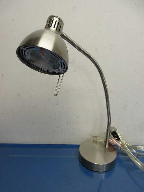 Silver gooseneck adjustable desktop lamp