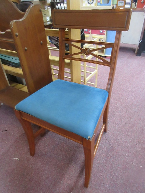 Vintage mahogany chair with blue seat