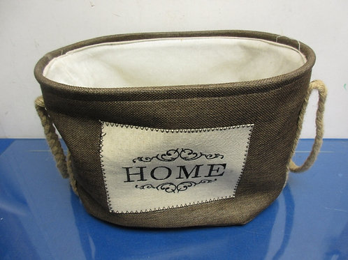 """Oval cloth basket with rope handles, """"Home"""" on front-10x14x9"""""""