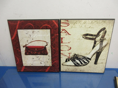 """Pair of wall hangings- """"purse"""" & """"shoe""""-11x13""""each"""