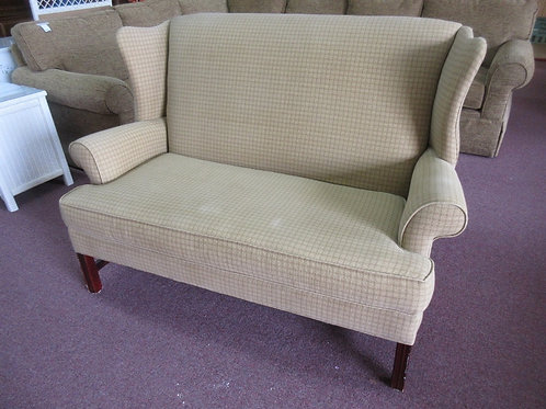 Craftmaster gold upholstered wing back style settee