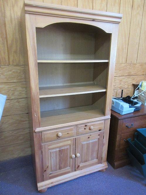 Broyhill pine shelving unit with 2 bottom doors, 1 drawer and adj shelves - 17x3