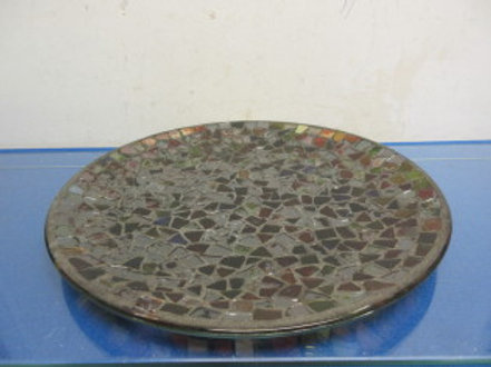 Round mosaic decorative candle plate with earth tone design