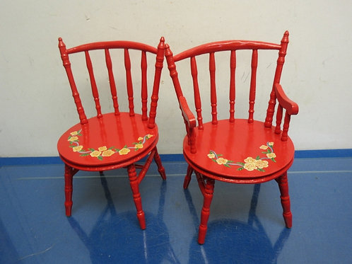 Pair of red wooden doll size chairs
