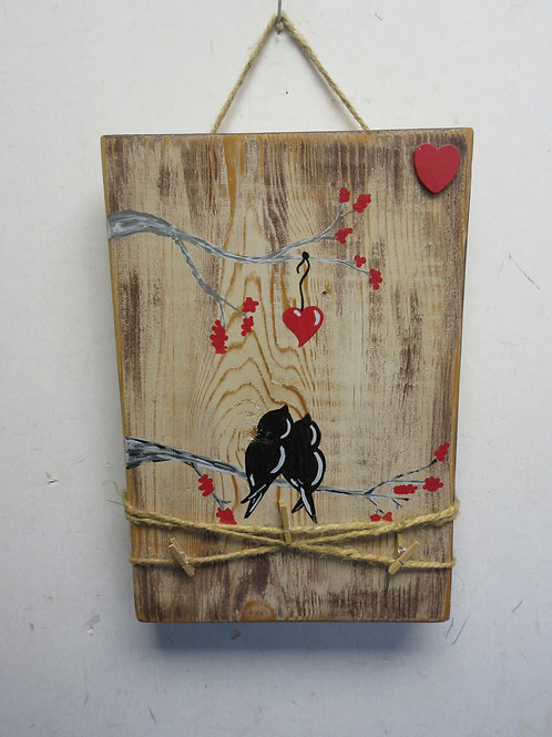 Wooden plaque 2 bird on a branch with memo clips to hang notes