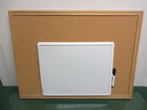 "Cork bulletin board17x23"" and small white board, 10x11"""
