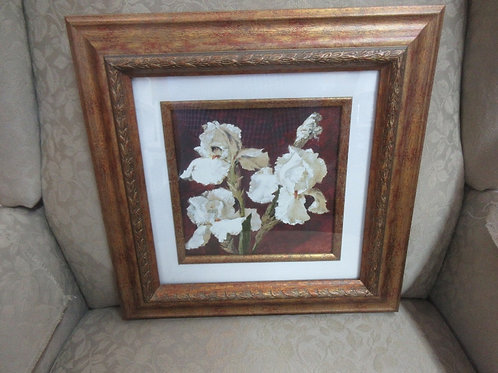 Framed picture of 3 white orchids, white mat, gold tone wide wood frame 14x14