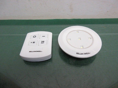 Bell and Howel round stick on LED light with remote control& built in timer
