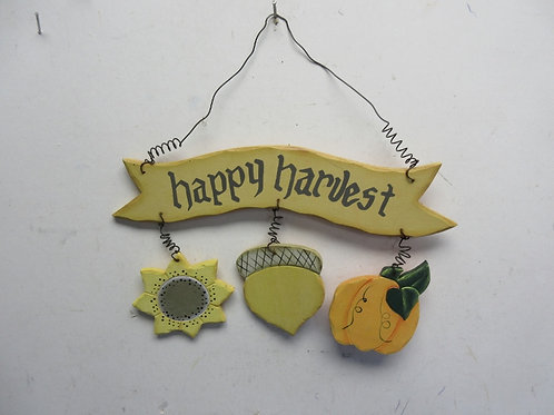 "Happy Harvest 10"" wood  wall hanging sign"