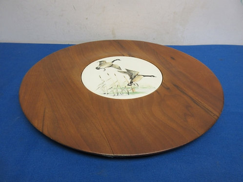 """Round wooden cheese and cracker tray with ceramic inlay, wild geese design, 14"""""""