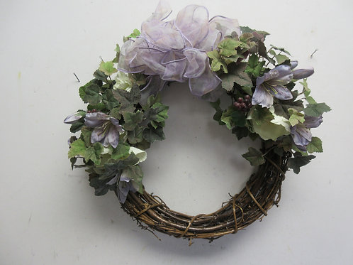 "Vine wreath with violet ribbon and flowers 14""diameter"
