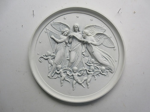 """Round plaster cast, wall hanging, dimensional angels, 14"""" diameter"""