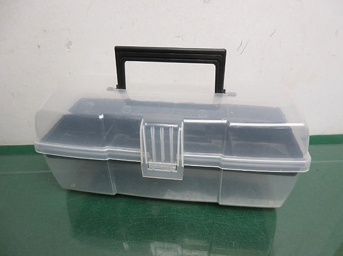 Clear plastic organizing case with lift out top tray