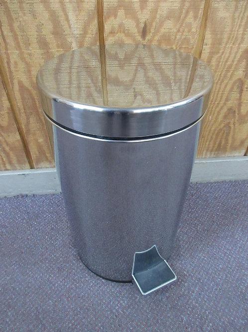 "Stainless medium waste basket w/step on lid & rigid liner - 10""dia x 16"""