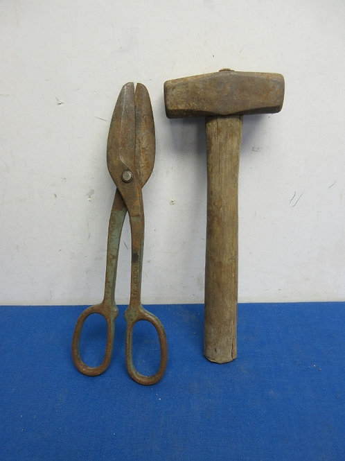 Vintage small sledge hammer and tin snips
