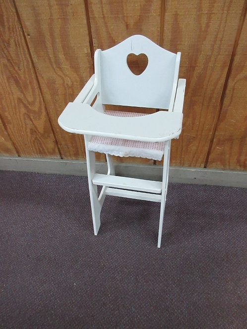 "Badget Basket white high chair with pink seat for 18"" doll"