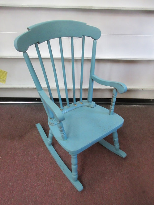 Child size wooden high back - blue rocking chair