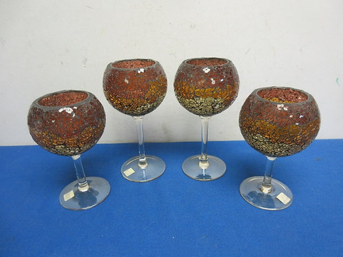 Partylite set of 4 stemmed amber mosaic candle holders