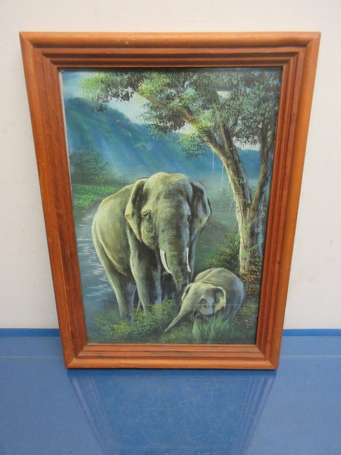 Painting of elephants from Thailand in wooden frame - 13x17